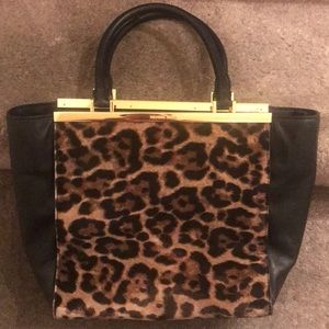 MK LANA LEOPARD PRINT HAIR CALF AND LEATHER TOTE